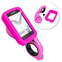 Tuff-Luv 3 in 1 Combo Silicone Gel Skin Case and Screen Cover for Garmin Edge 820 with Out-Front Handlebar Mount - Pink