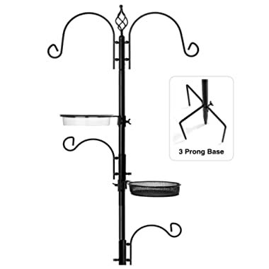 """Rhino Tuff Products Bird Feeder Stand: Deluxe Bird Feeders for Outside Feeding Station, with 3 Prong Base and Water Dish Ideal for Bird Watching, Garden, Patio, and Backyard Decor 91"""" Tall"""
