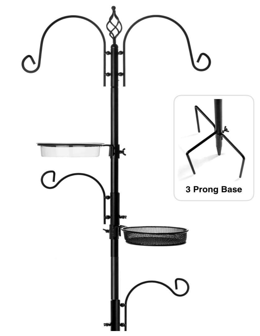 "Rhino Tuff Products Bird Feeder Stand: Deluxe Bird Feeders for Outside Feeding Station, with 3 Prong Base and Water Dish Ideal for Bird Watching, Garden, Patio, and Backyard Decor 91"" Tall"
