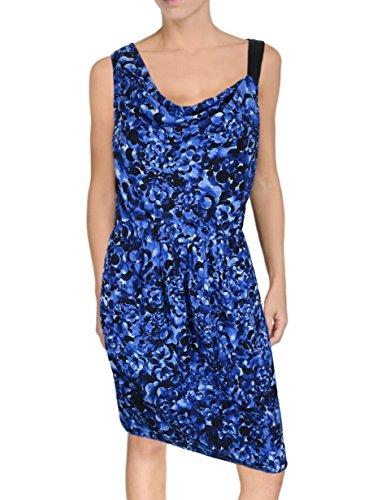 DKNY Donna Karan New York Cowlneck Silk Dress, Size P, Blue Abstract Floral Print ()