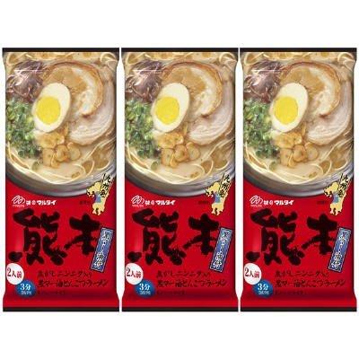 (MARUTAI Kumamoto Tonkotsu Instant Noodle Soup Ramen Non-fried For 2 servings (3pcs))