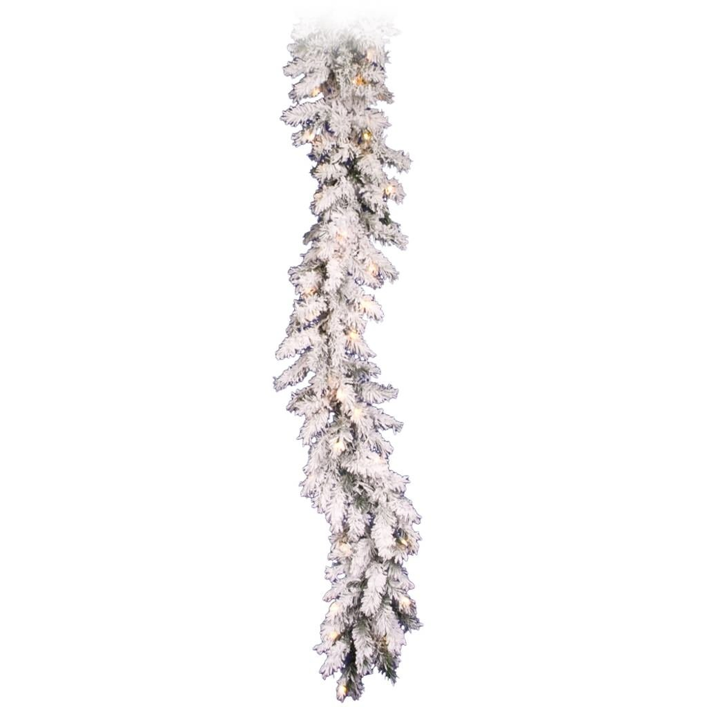 Vickerman Pre-Lit Flocked Alaskan Pine Garland with 50 Clear Dura-Lit Lights, 9-Feet, Flocked White on Green A806312