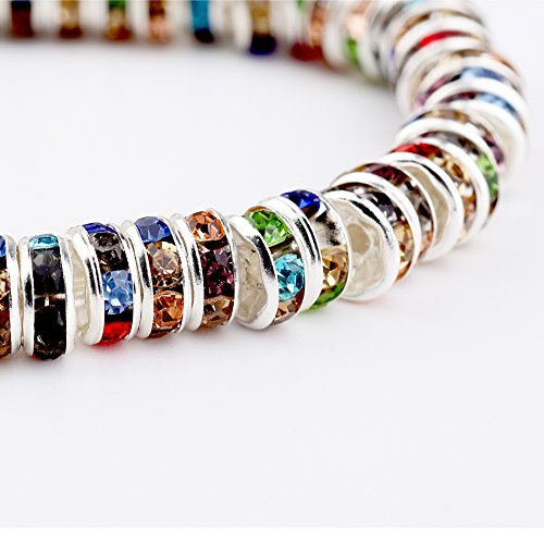 (HYBEADS 100Pcs Crystal Rondelle Spacer Bead Silver Plated 6mm Multicolor)