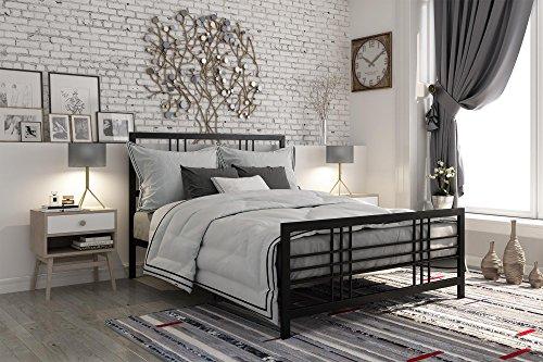 DHP Burbank Metal Bed Frame with Under Bed Storage, Black, Q