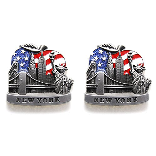 Favorict Big Apple U.S Flag New York Souvenir Fridge NY Magnet - US Flag,Statue of Liberty,Empire State Building,Brooklyn Bridge,NYC Magnet Metal (Pack 2)