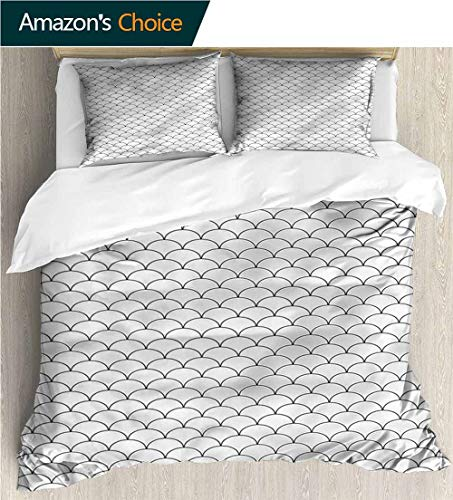 Kas Oriental Multi Waves - Bedspread Set Queen Size,Box Stitched,Soft,Breathable,Hypoallergenic,Fade Resistant Print,Decorative Quilted 2 Piece Coverlet Set With 2 Pillow Shams-Geometric Oriental Waves Sketch (87