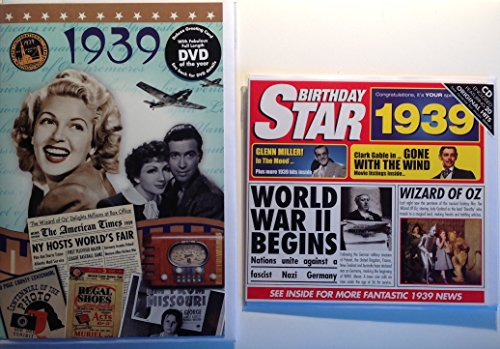 - 1939 Birthday Gifts Pack - 1939 DVD Film , 1939 Chart Hits CD and 1939 Birthday Card