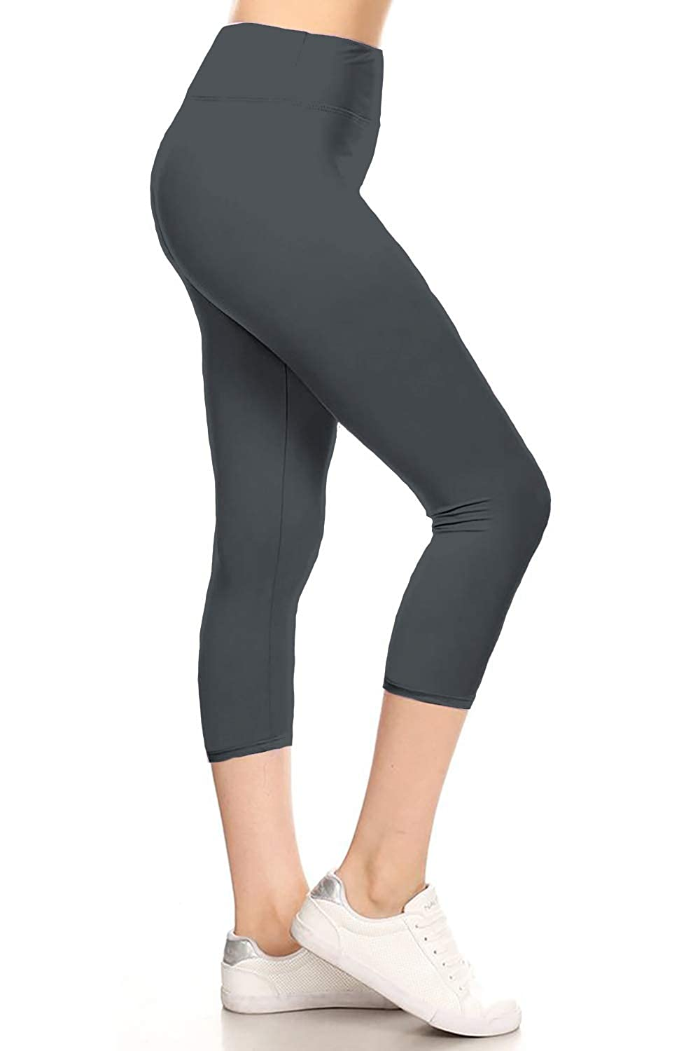Leggings Depot High Waisted Yoga Capri Print Leggings -Soft & Slim (Yoga Capri Charcoal Gray, Plus Size (L-2X / Size 12-20))