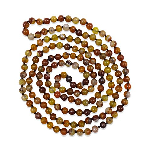 BjB Jewelry 60 Inch 8MM Polished Madagascar Striped Agate Multi-layer Long Endless Infinity Beaded Unisex Necklace. (8 Agate Mm Genuine)