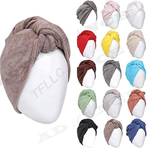 (100% Cotton Hair Bath Towel Turban Wrap Terry Long Soft Hair Drying Towels - NOT MICROFIBER (1 Turban))