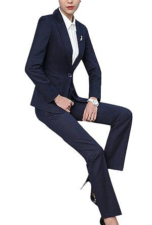 450a5c6a73cb SK Studio Damen Business Hosenanzuge Slim Fit Blazer Reverskragen Karriere  Hosen Anzug Set Blau 34 Tag