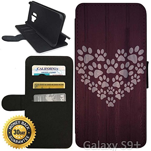 Paw Wallet Prints (Flip Wallet Case for Galaxy S9 Plus (Paw Print Heart Design) with Adjustable Stand and 3 Card Holders   Shock Protection   Lightweight   Includes Stylus Pen by Innosub)