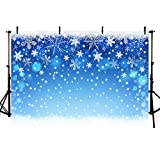MEHOFOTO Blue Photo Studio Background Winter Christmas Snowflake Bokeh Birthday Party Banner Photography Backdrops Props 7x5ft