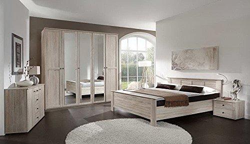 4-tlg-Komfortschlafzimmer-in-Eiche-sgerau-Nachbildung-Kleiderschrank-B-225-cm-Kompaktbett-Liegeflche-180-x-200-cm-Nachtschrnke-B-104-cm