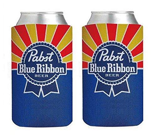 Pabst Blue Ribbon PBR 16oz Beer Can Cooler Holder Kaddy Coolie Huggie Set of 2