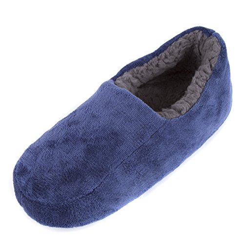 Leisureland Men's Plush Fleece Lined Cozy Slippers (L/XL(11-13 US), Blue)