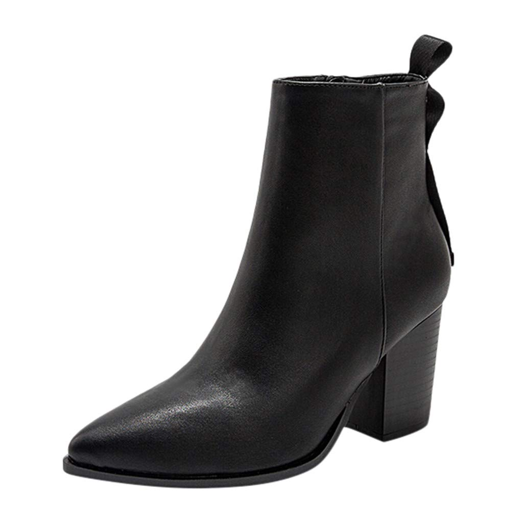 Ankle Bootie for Women Classic Faux Leather Pointed Toe Side Zipper Chunky Heel Combat Boots Leaf2you by Leaf2you