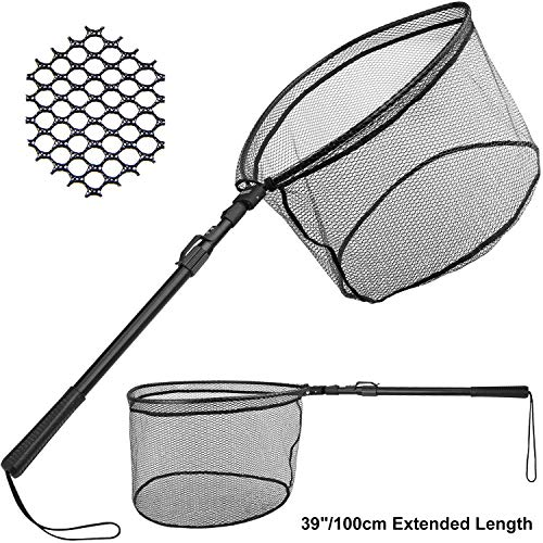 PLUSINNO Fishing Net Fish Landing Net, Foldable Collapsible Telescopic Pole Handle, Durable Nylon Material Mesh, Safe Fish Catching or - Net Fishing Landing
