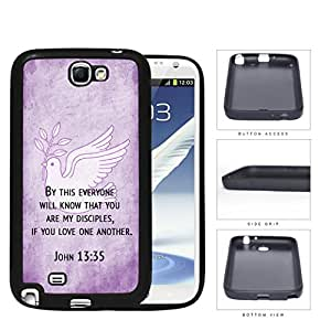 John 13:35 Religious Bible Verse on PURPLE Grunge & White Dove [Samsung Galaxy Note II 2 N7100] Rubber Silicone TPU Cell Phone Case