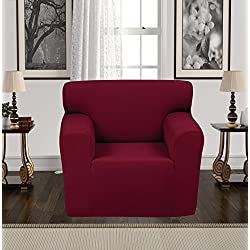 Anti-Slip Jacquard 1-Piece Spandex Stretch Elastic Pet Dog Sofa Couch Cover Slipcover Non-Slip Arm-chair Love-Seat Furniture Protector Shield 1 2 3 Seater T Cushion L Shaped (Chair - Burgundy)