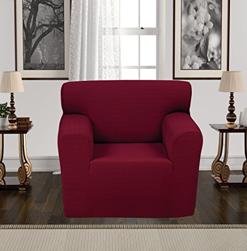 Anti Slip Jacquard 1 Piece Spandex Stretch Elastic Pet Dog Sofa Couch Cover Slipcover Non Slip Arm Chair Love Seat Furniture Protector Shield 1 2 3 Seater T Cushion L Shaped  Chair   Burgundy