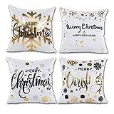 Xmas Decoration Gold Snowflakes Merry Christmas Soft Velvet Throw Pillow Covers 18 x 18 (Set of 4, Gold Foil Xmas White)