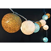 35x White, Light Blue, Glittering Gold (1,9,20) Cotton Ball String Lights, Ball Lights, Cotton Lights, Fairy Lights, Cotton Ball Lights, Bedroom Lights, Party Lights