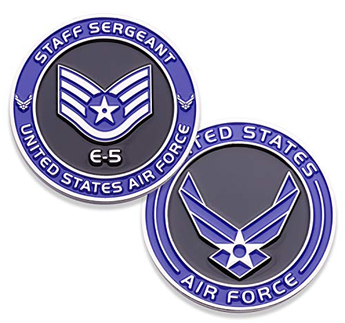 (Air Force Staff Sergeant E5 Challenge Coin! United States Air Force Staff Sergeant Rank Military Coin. E-5 USAF Challenge Coin! Designed by Military Veterans - Officially Licensed Product!)