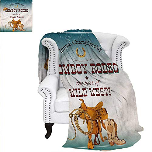 Western Blanket Cowboy Rodeo Championship Velvet Plush Throw Blanket 70