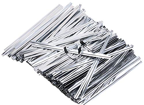 - Mini Skater 6 Inches 800 Pieces Metallic Plastic Twist Ties Bag Ties for Cellophane Party Bag (800, Silver)