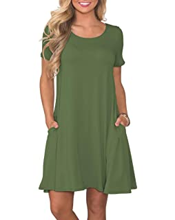 c1280f2f4b78 KORSIS Women s Summer Casual T Shirt Dresses Short Sleeve Swing Dress with  Pockets