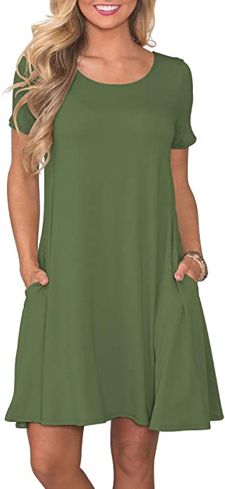 KORSIS Women Summer Casual T Shirt Dresses Short Sleeve Swing Dress with Pockets