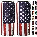 Slim Can Sleeves - Neoprene Bottle Insulator Sleeve Set of 2 Can Beverage Coolers for 12oz Energy Drink & Beer Cans (Flag)
