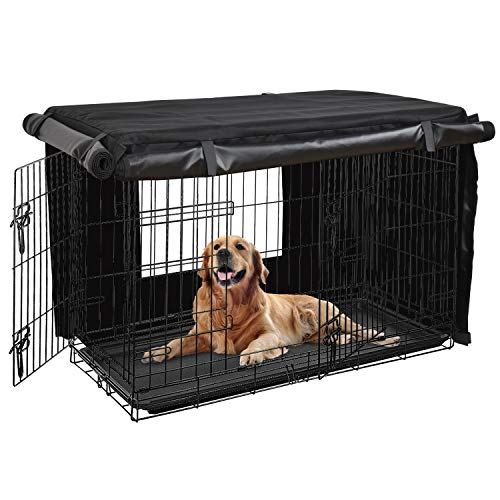 - HONEST OUTFITTERS Dog Crate Cover 36'' Dog Kennel Cover for Medium Dog, Heavy Duty Oxford Fabric,with Double Door, Pockets and Mesh Window (36''x24''x25'')