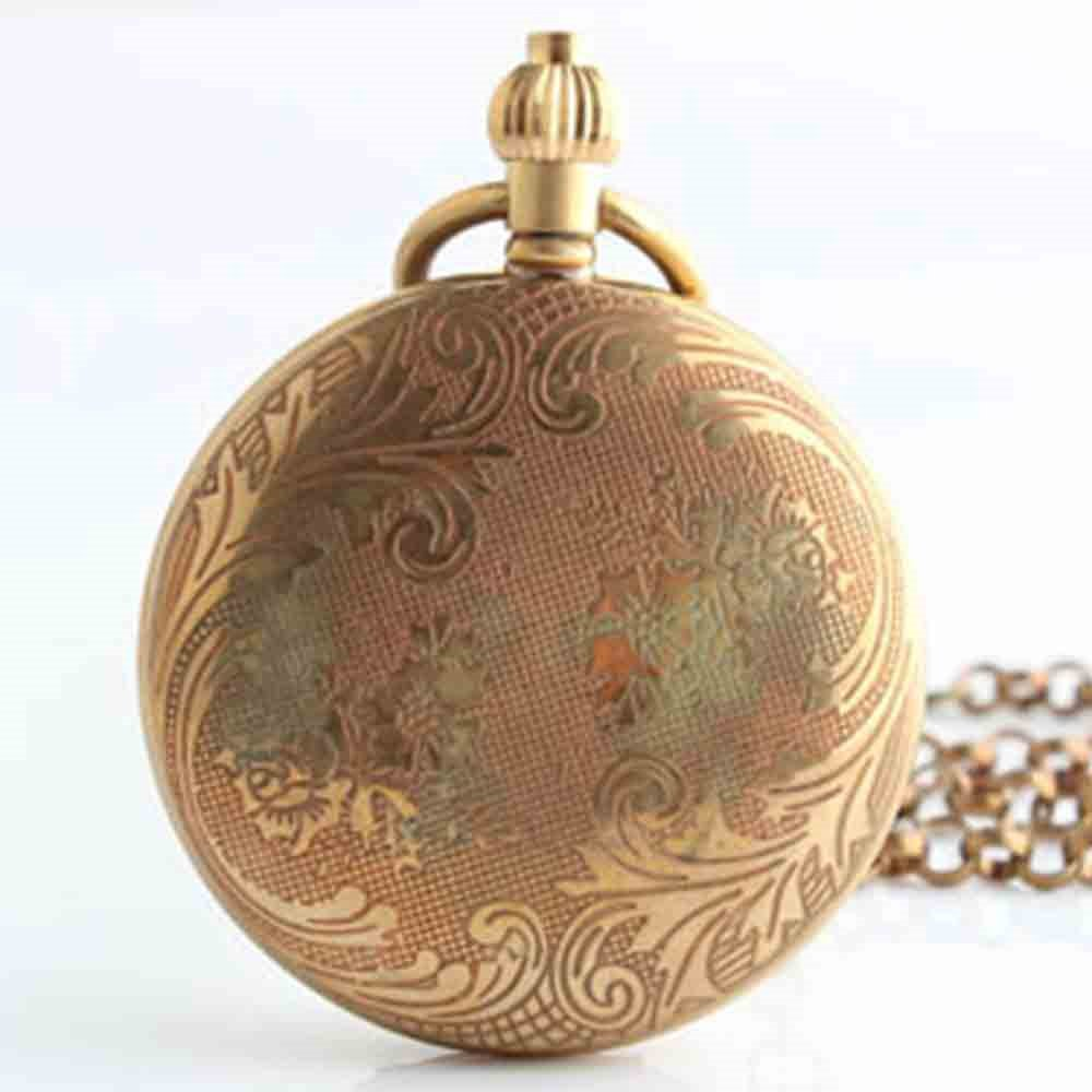 Zxcvlina Classic Smooth Unisex Pocket Watch Retro Copper Chain Mechanical Pocket Watch for Men and Women Suitable for Gift Giving