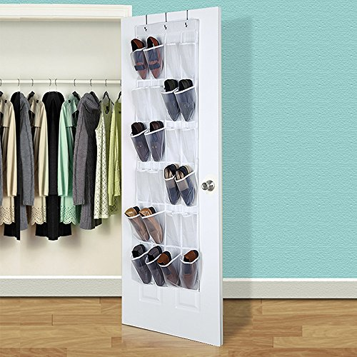 HIPPIH Over The Door Shoe Organizer - 24 Pockets Crystal Clear Hanging Shoe Organizer, White