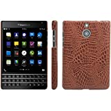 BlackBerry Passport Silver Edition Case, HualuBro [Ultra Slim] Premium Crocodile Pattern Lightweight Leather Phone Case Cover for BlackBerry Passport Silver Edition Smartphone (Brown)