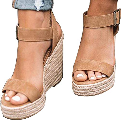 XMWEALTHY Women's Wedge Sandals Casual Sandals Shoes Summer Ankle Buckle Open Toe Platform Wedges Heels US Size 7 Khaki