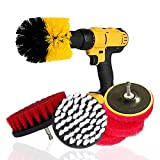 Hakkin Kitchen/Bathroom Cleaning Drill Attachment Kit- 3 PCS Brushes for Drill +3 PCS Scouring Pads(4in) +1 Drill Backing Plate- Tubs, Bathrooms, Tile, Grout, Carpet, Tires- Spin Floor Scrubber(7PCS)