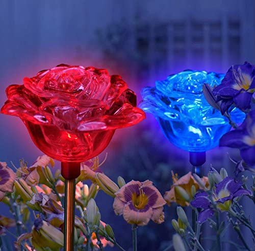 Set of 2 with Exquisite Design Lovely Brilliant Solar Rose Lights Rose Flowers Garden Stakes