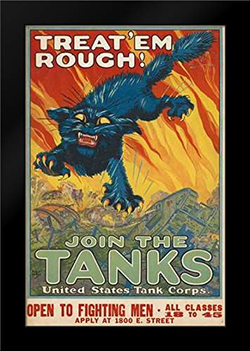 Treat em Rough - Join The Tanks, 1917 17x24 Framed Art Print by Hutaf, August