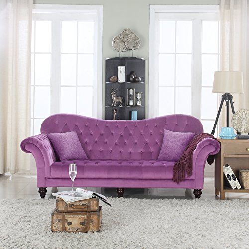 Classic Tufted Velvet Victorian Sofa (Purple)
