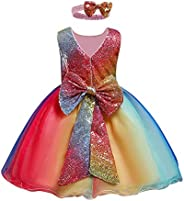 OBEEII Girl Shiny Sequin Rainbow Dress with Headband V Backless Gown Princess Party