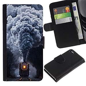 NEECELL GIFT forCITY // Billetera de cuero Caso Cubierta de protección Carcasa / Leather Wallet Case for Apple Iphone 4 / 4S // Locomotora de vapor del tren del vintage retro