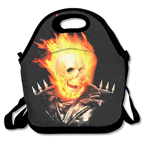 [Black Ghost Rider Unisex Lunch Bags For Woman Man Kid] (Classic Jason Costume)