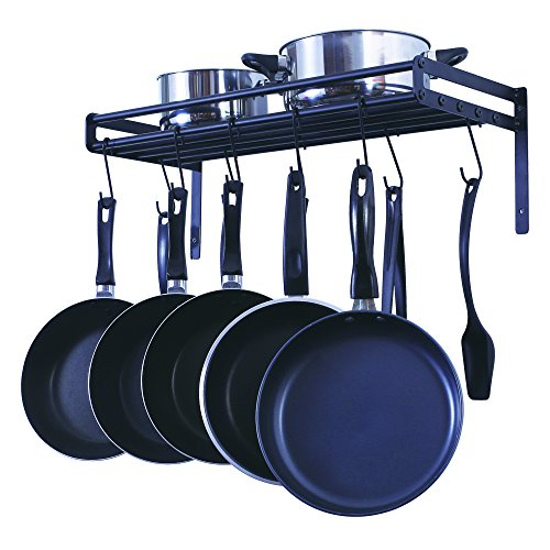 - ZESPROKA Kitchen Wall Pot Pan Rack,With 10 Hooks,Black