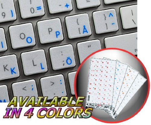 Price comparison product image APPLE SWEDISH / FINNISH KEYBOARD STICKERS WITH BLUE LETTERING TRANSPARENT BACKGROUND FOR DESKTOP,  LAPTOP AND NOTEBOOK