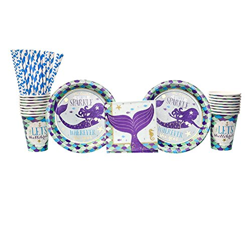 Mermaid Wishes Party Supplies Pack for 16 Guests: Straws, Dessert Plates, Beverage Napkins, and Cups -