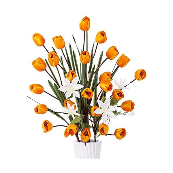 "YILIYAJIA Artificial Tulips Silk Flowers Bouquet Arrangement Long Stem Tulips Artificial Flowers Floor Flowers for Wedding Party Patio Decoration,40""(Orange)"