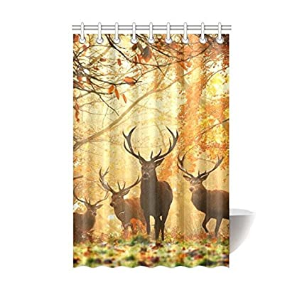 InterestPrint Deer Shower Curtain Whitetail Antlers Natural Forest Decorations Polyester Fabric Bathroom Set
